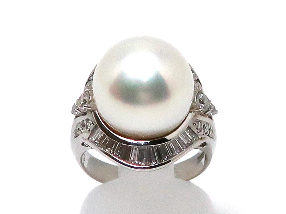 新着商品 Pt900 白蝶真珠14.2mmリング ダイヤモンド1.29ct 14.5g
