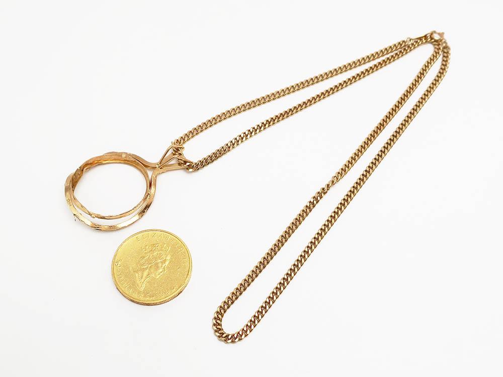 純金1/2OZコイン付き K18ネックレス 55g 買取実績 202106