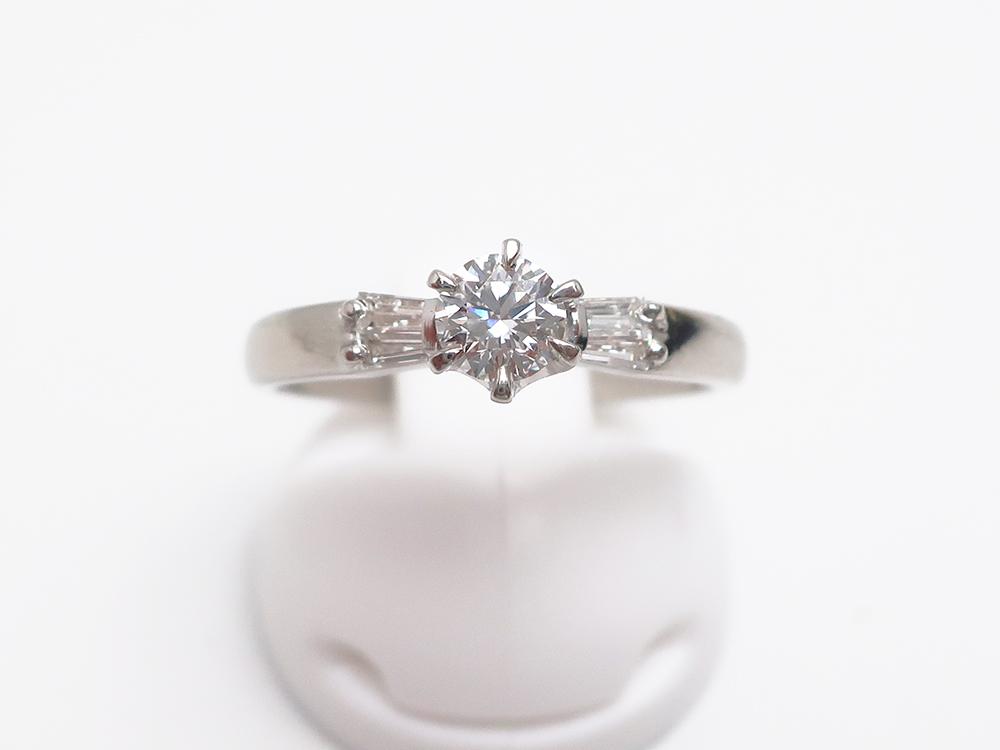 Pt900 ダイヤモンド 0.301ct 0.08ct 立爪リング 4.4g 買取実績 202107