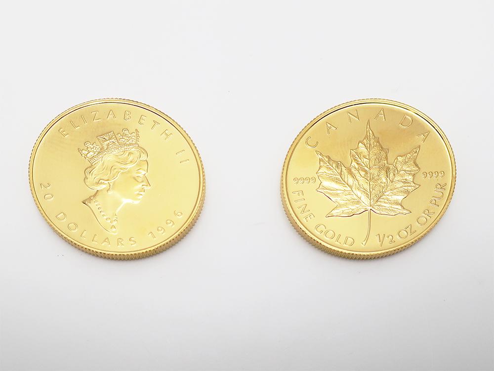 純金 メイプルリーフコイン 1/2オンス 2枚 買取実績 202107