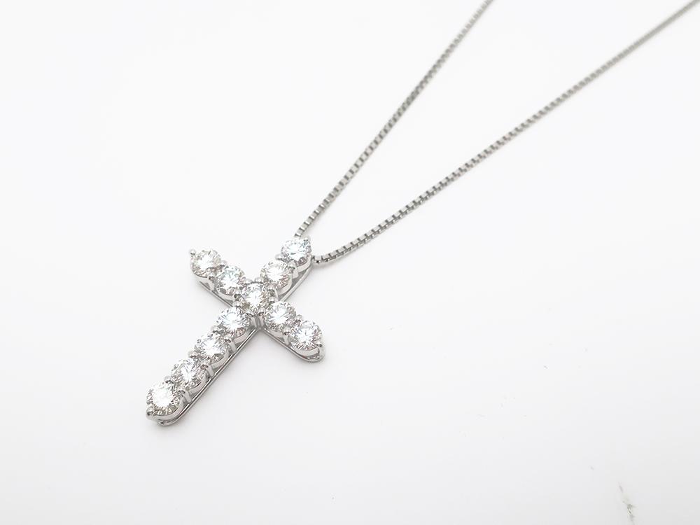 Pt900/Pt850 ダイヤモンド 3.021ct クロスペンダントネックレス 13.1g 買取実績 202109